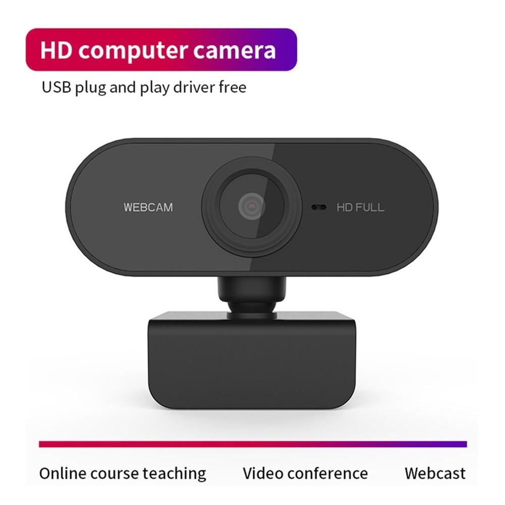 Webcam Full HD 1080p cámara Web con micrófono incorporado 1920x1080p USB Plug n Play Webcam corrección automática Base de 360 grados