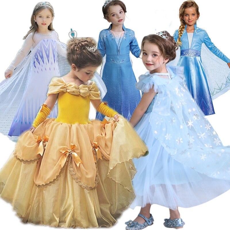 Vestido infantil de niña Belle Princess, disfraces de niña, vestido de niña bebé, vestido de fantasía amarillo, accesorios de fiesta Elsa 2