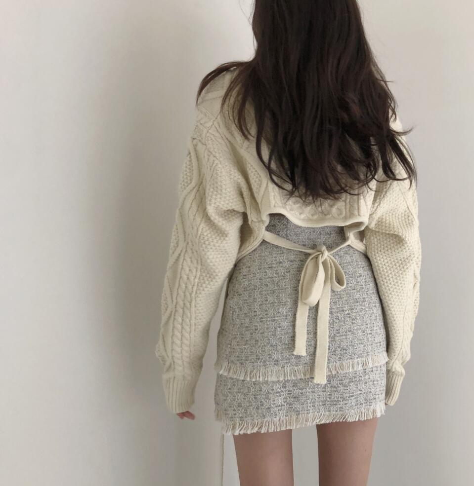 Recortado Twist Sweater Pullover mujer cuello en V de alta cintura espalda encaje grueso suéter 2019 invierno coreano manga de murciélago tejido V523