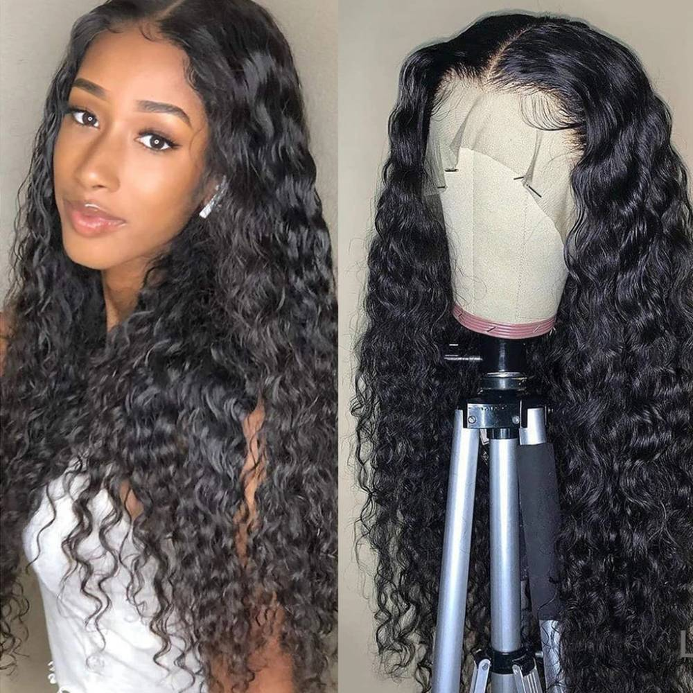 34 Inches Water Wave Lace Frontal Wig 250% 13x4 Lace Front Wig Brazilian Virgin Transparent Lace Human Hair Wigs Curly Wig
