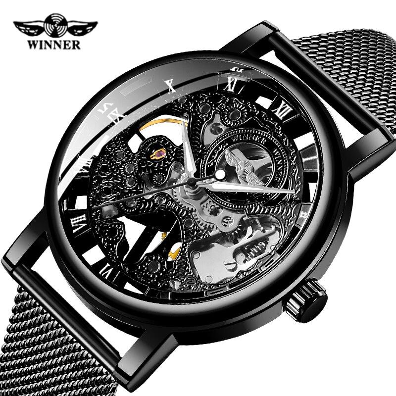 WINNER Brand Men Mechanical Watches Men Stainless Steel Skeleton Hand wind Wristwatches Relogio Masculino