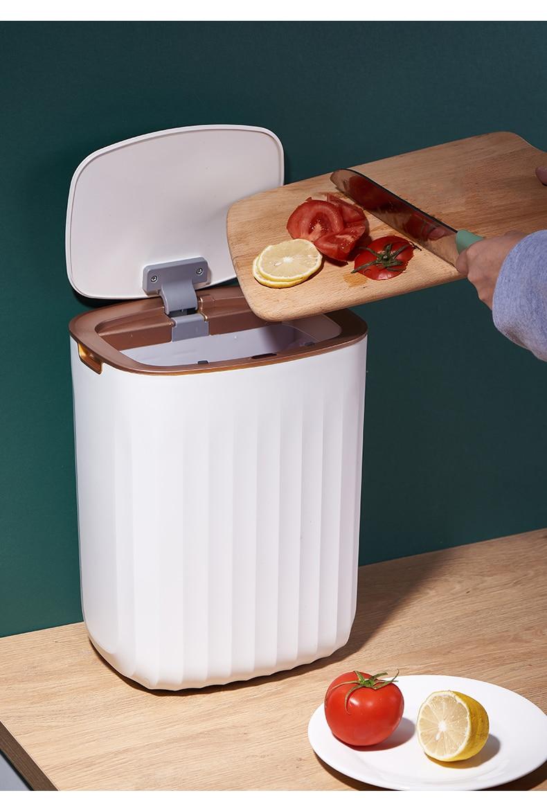 Large Nordic Waste Bin Automatic Living Room Waterproof Smart Sensor Trash Can Kitchen Rangement Cuisine Home Products DG50WB enlarge