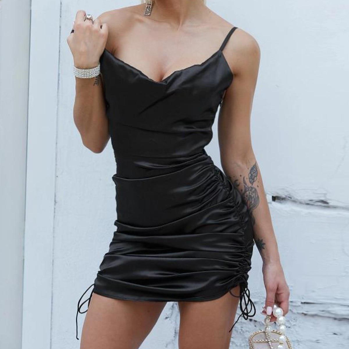 Drawstring sling pleated tight-fitting dress 2021 summer women's sexy hollow mini prom dress casual