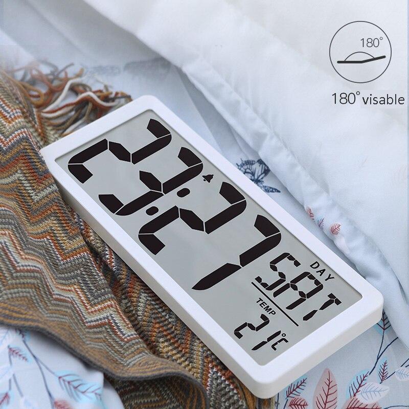 """TXL Экстра большое видение цифровые настенные часы Jumbo будильник 13,8 """"ЖК-дисплей Будильник Календарь домашняя температура питание от аккумулятора"""
