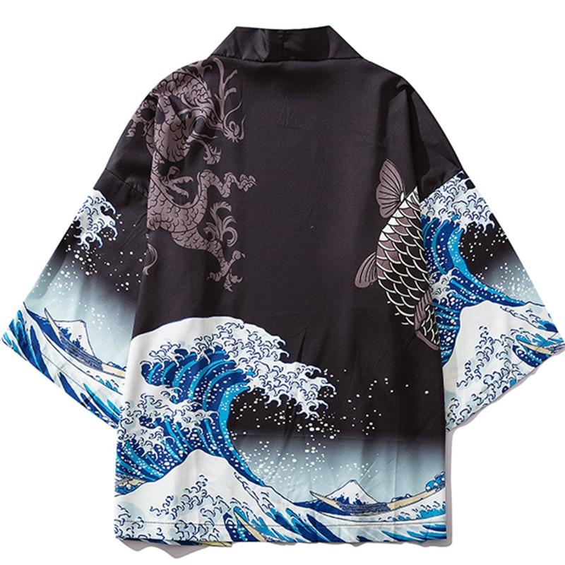 Black Kimono Cardigan Women Men Japanese Obi Male Yukata Men's Haori Japanese Wave Carp Print Coat Traditional Japan Clothing