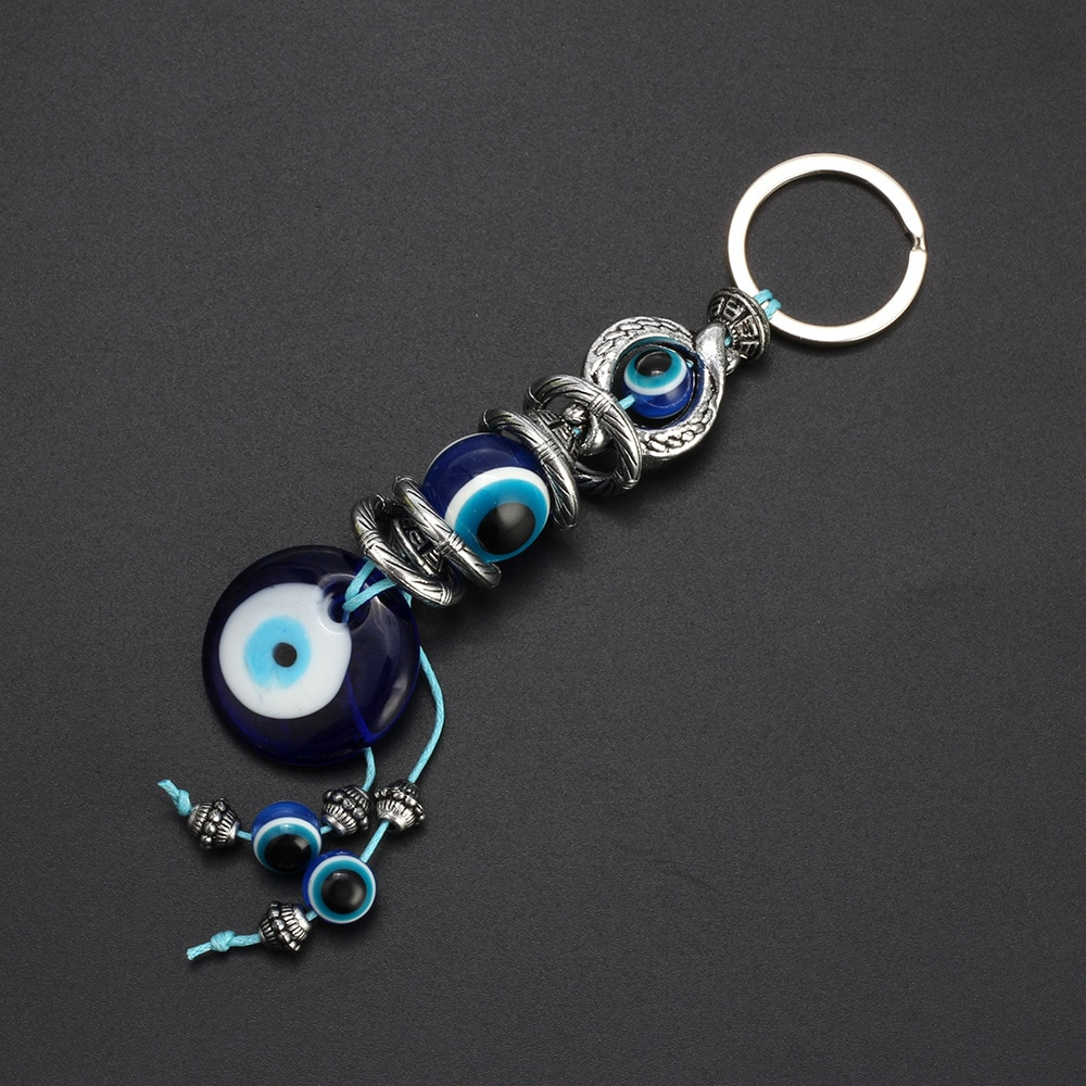 Мода Счастливый турецкий греческий голубой глаз очарование кулон подарок подходит DIY брелок автомобильные брелки кольцо аксессуары брелок...