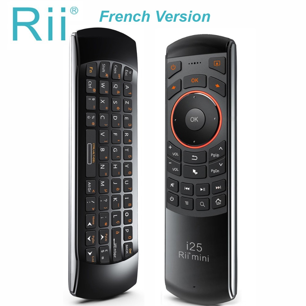 Rii mini i25 AZERTY Французская клавиатура Fly mouse пульт дистанционного управления с программируемым ключом для смарт-ТВ на андроид ТВ коробка Fire tv