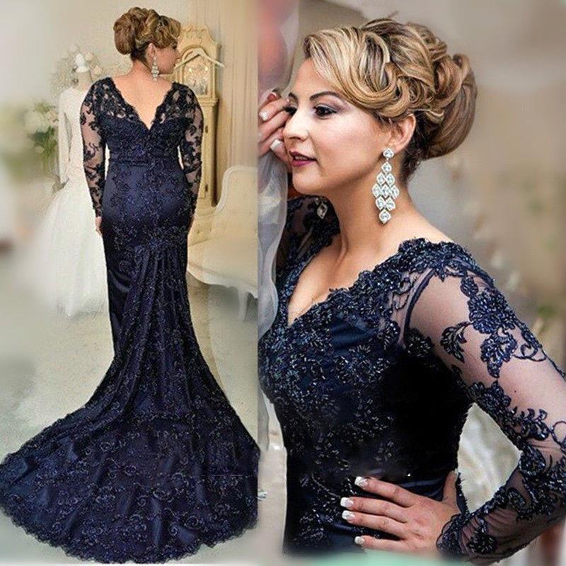 Elegante azul marino encaje sirena vestidos de graduación 2019 de talla grande vestidos de noche formales vestidos para mujer