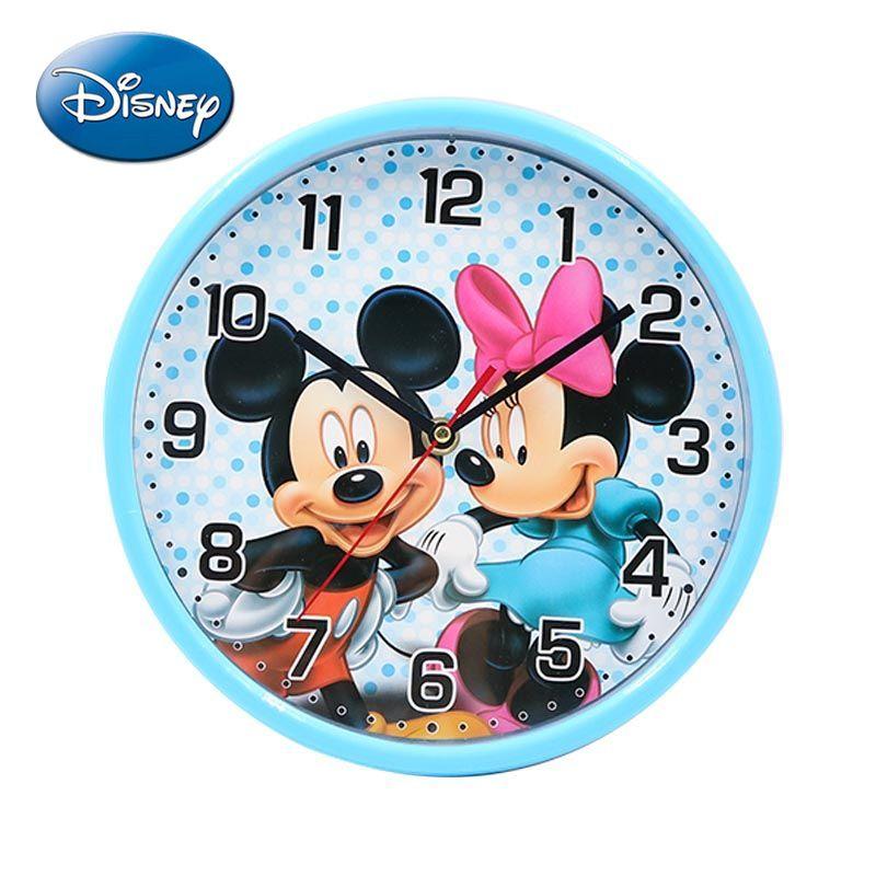 Часы с изображением героев Диснея Микки Маус Минни мультфильма, модные настенные часы, круглые Настенные часы для спальни, бесшумные кварце...