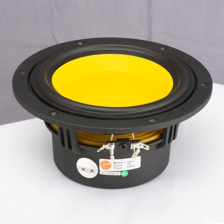 1PCS Original HiVi D6G 6-1/2'' Midrange Speaker Driver Unit Yellow Special Mixed Cone Casting Aluminum Frame 8ohm 120W 85db/mw enlarge