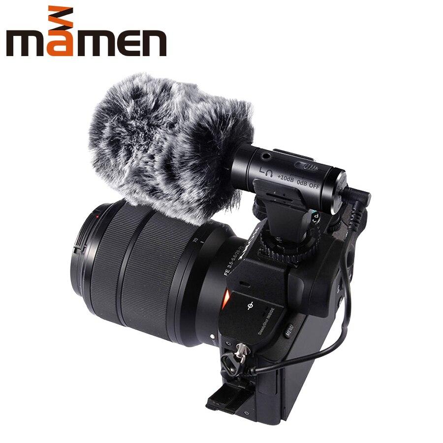 Mamen 3.5mm gravação de monitoramento em tempo real microfone condensador hipercardióide microfone para câmera de telefone vlog tiro entrevista