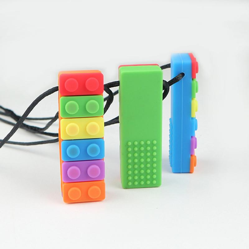 1Pc Sensory Chew Necklace Brick Chewy Kids Silicone Biting Topper Teether Toy Silicone Teether Accessories For Children Juguetes