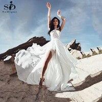 beach wedding dress sexy halter side slit bridal dress lace appliques simple chiffon boho wedding dress vestido de noiva