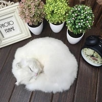 creative children gifts simulation sleeping cats home furnishing jewelry ornaments plush animals dogs toys kids cognitive toys