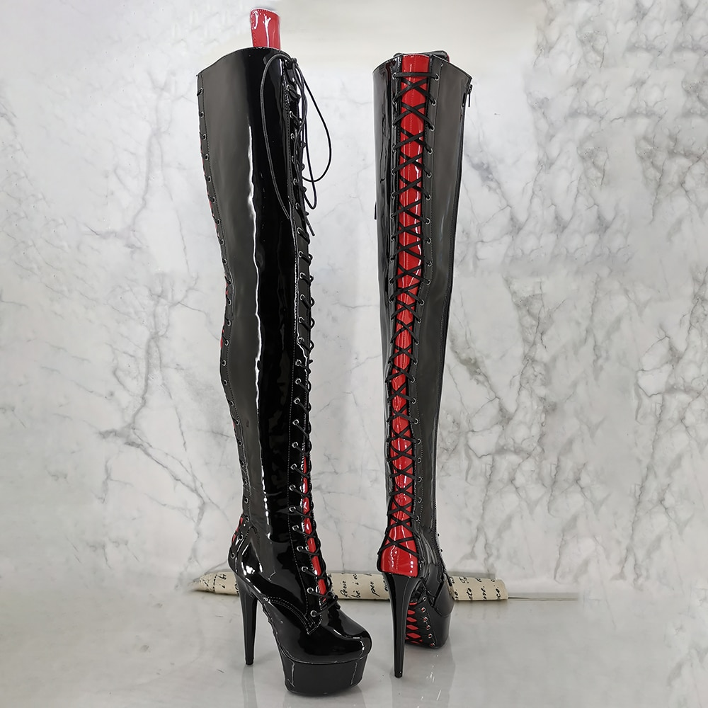 Leecabe 15cm Pole dancing, sexy thigh-high boots with lace up upper and sole , sexy dancer high-heeled lap dancing shoes