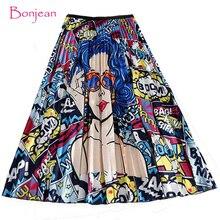 Hiver femmes jupe plissée nouveau dessin animé imprimer taille haute jupes longues femmes jeune fille été grande taille japon femme Falda