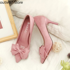 New Women's Shoes High Heels Pointed High Heels Fine Heel Shallow Mouth Bow Single Shoes Women