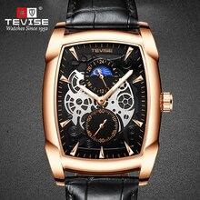 TEVISE T802S Men Watch Quartz  Movement Moon Phase Date Display Leather Strap Luminous Hands Mens Wa