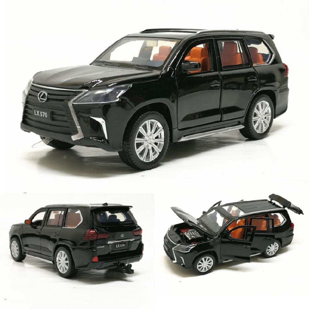 132 LX570 de aleación de atrás juguete de modelo de coche de fundición de Metal modelo de coche de juguete con sonido luz para el modelo de coche los amantes de los coleccionistas