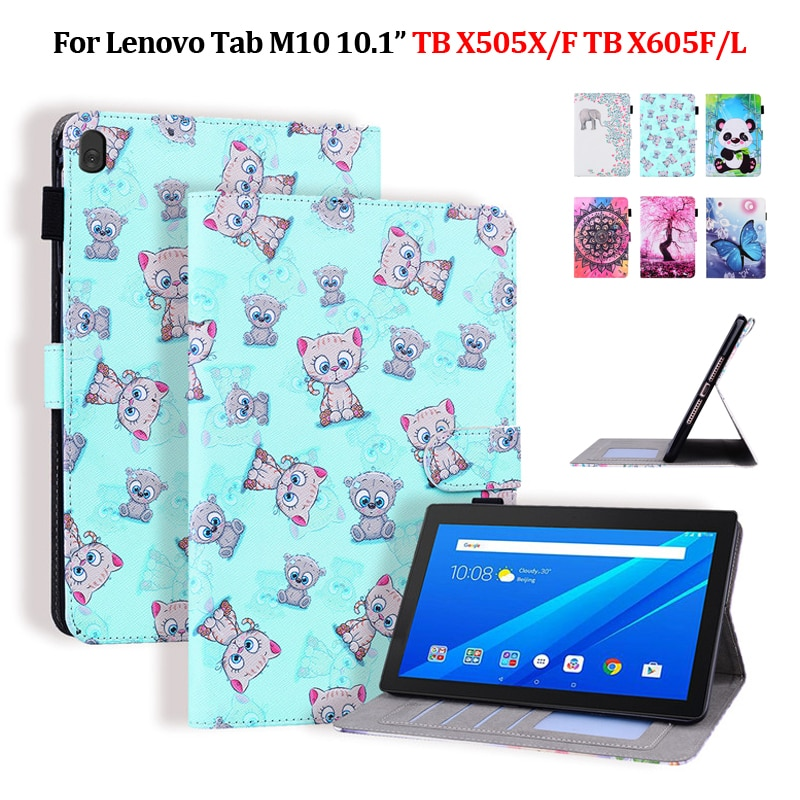 Tablet Für Lenovo M10 tb-x505x Fall Nette Bär Elefant Farbe Leder Abdeckung Für Lenovo Tab M10 Fall tb-x605x/f tb x505f tb x505x