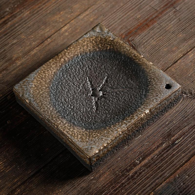 أواني السيراميك وأواني الأرض اليابانية ، وعاء محمل لقرص لمبة جافة ، يدوي ، مربع للمياه الجافة ، صينية حفل الشاي