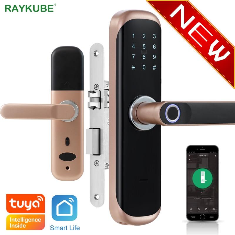 RAYKUBE Tuya-قفل باب إلكتروني ذكي ، قفل بصمة الإصبع ، بطاقة ذكية/رمز رقمي/بدون مفتاح لأمن المنزل والمكتب