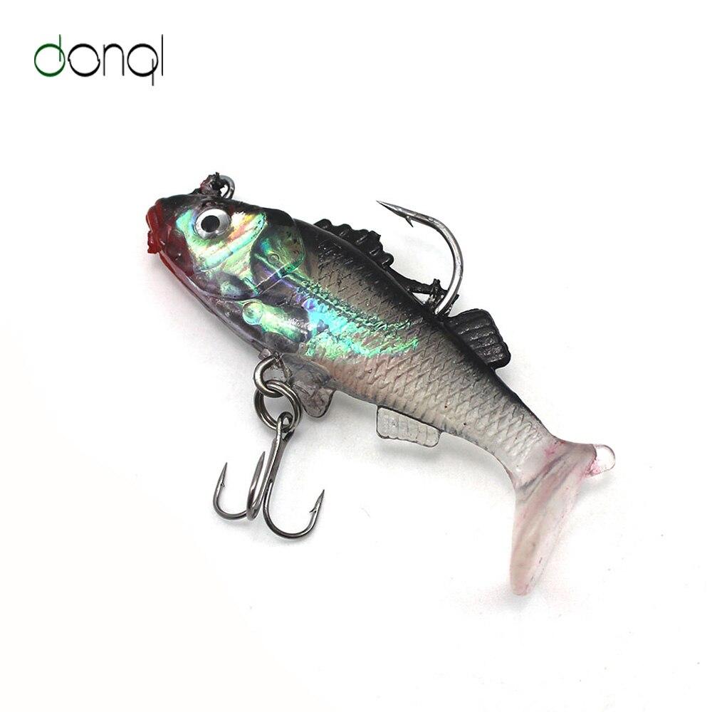 3 unids/lote 3D señuelo de pesca brillante 6,6 cm cebo Artificial suave carpas Crankbait con anzuelos triples accesorios de pesca