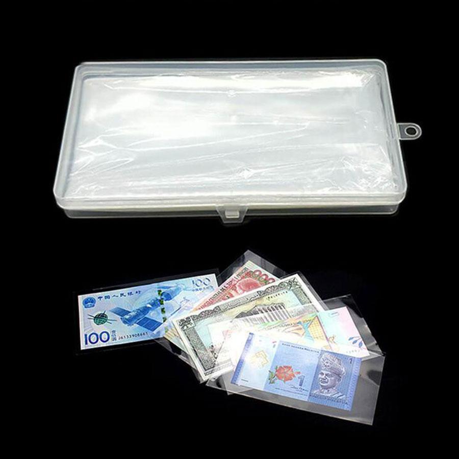 100 bolsillos por page100pzs/lote Página de billetes álbum transparente billete dinero de papel franqueo insignias Colección Caja de almacenamiento