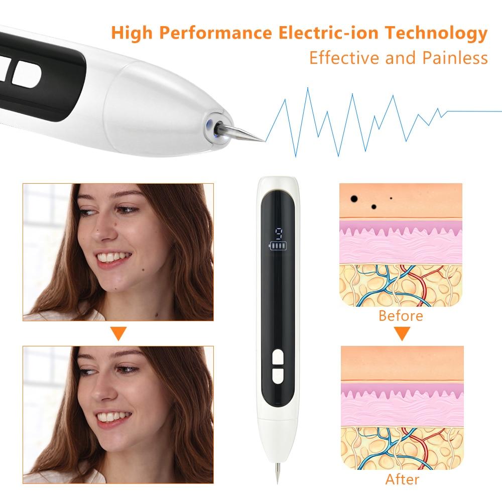 12 Level Laser Plasma Mole Remover Pen Tattoo Freckle Dark Spot Eraser Skin Face Tag Removal Tool Family Salon Body Beauty Care
