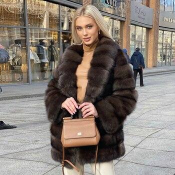 Winter Fashion Fox Fur Coat Real Women Trendy New Whole Skin Natural Fox Fur Jacket Turn-down Collar Medium Length Fur Overcoats