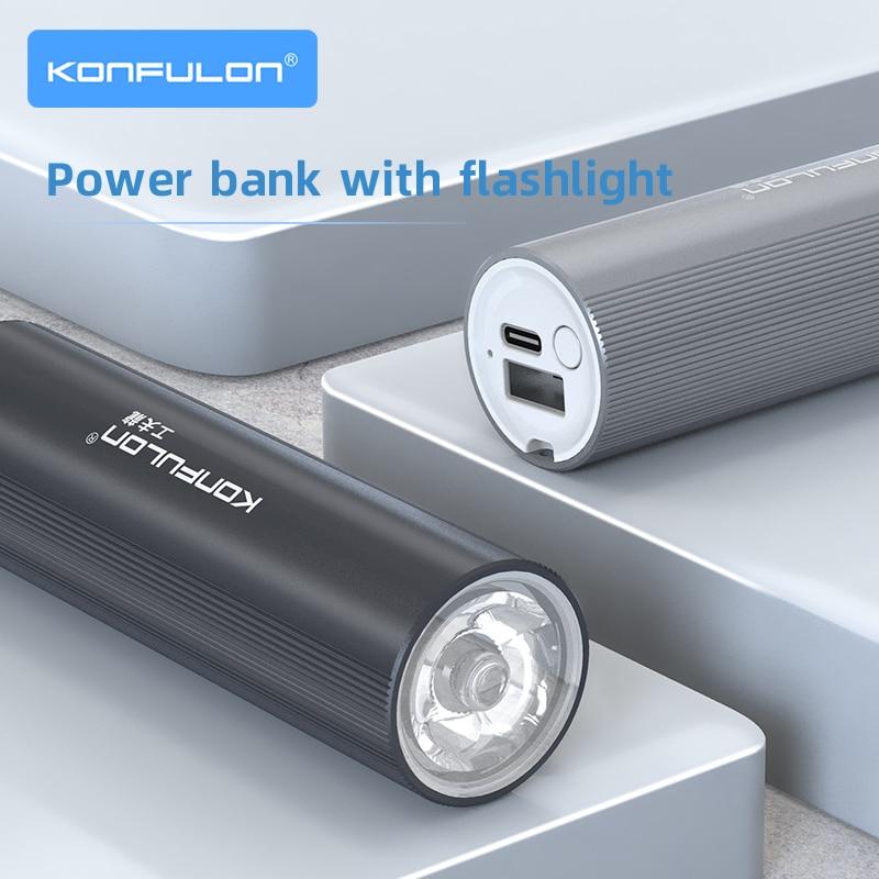 Flashlight Power Bank 5000 mah Mini Power Bank Rechargeable Flashlight 26650 Battery Bank Tent Lamp