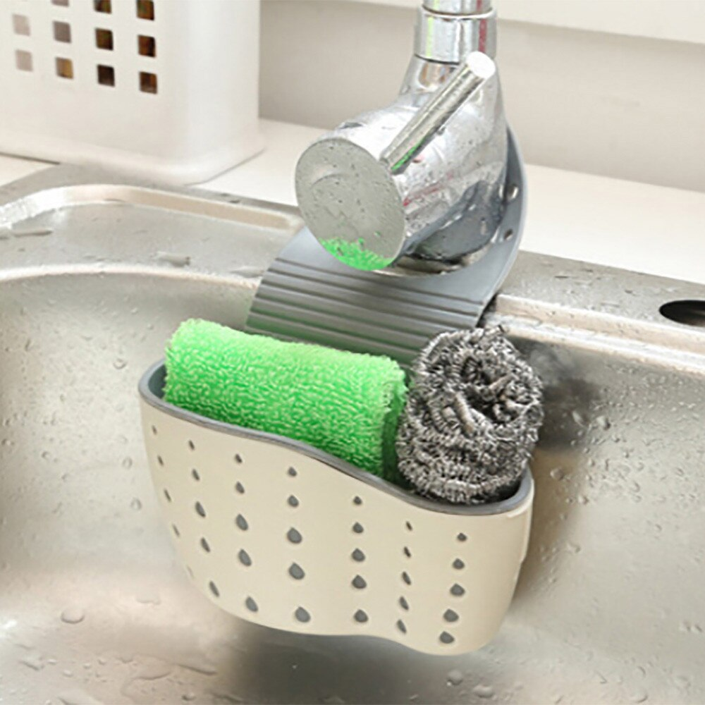 Soporte de estante de PP portátil práctico fregadero de succión cesta colgante jabón esponja drenaje rack cocina ventosa almacenamiento también