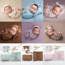 Envolturas de fotografía para bebé recién nacido, 3 uds., conjunto de gorro de oso, almohada, disfraces de foto, accesorios de estudio, ropa para niños y niñas, lazos