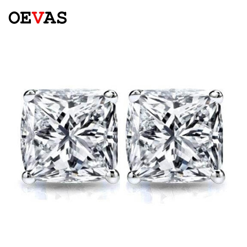 Review OEVAS Real 1 Carat Moissanite Stud Earrings For Women 100% 925 Sterling Silver 18K Gold Plated Sparkling Wedding Fine Jewelry