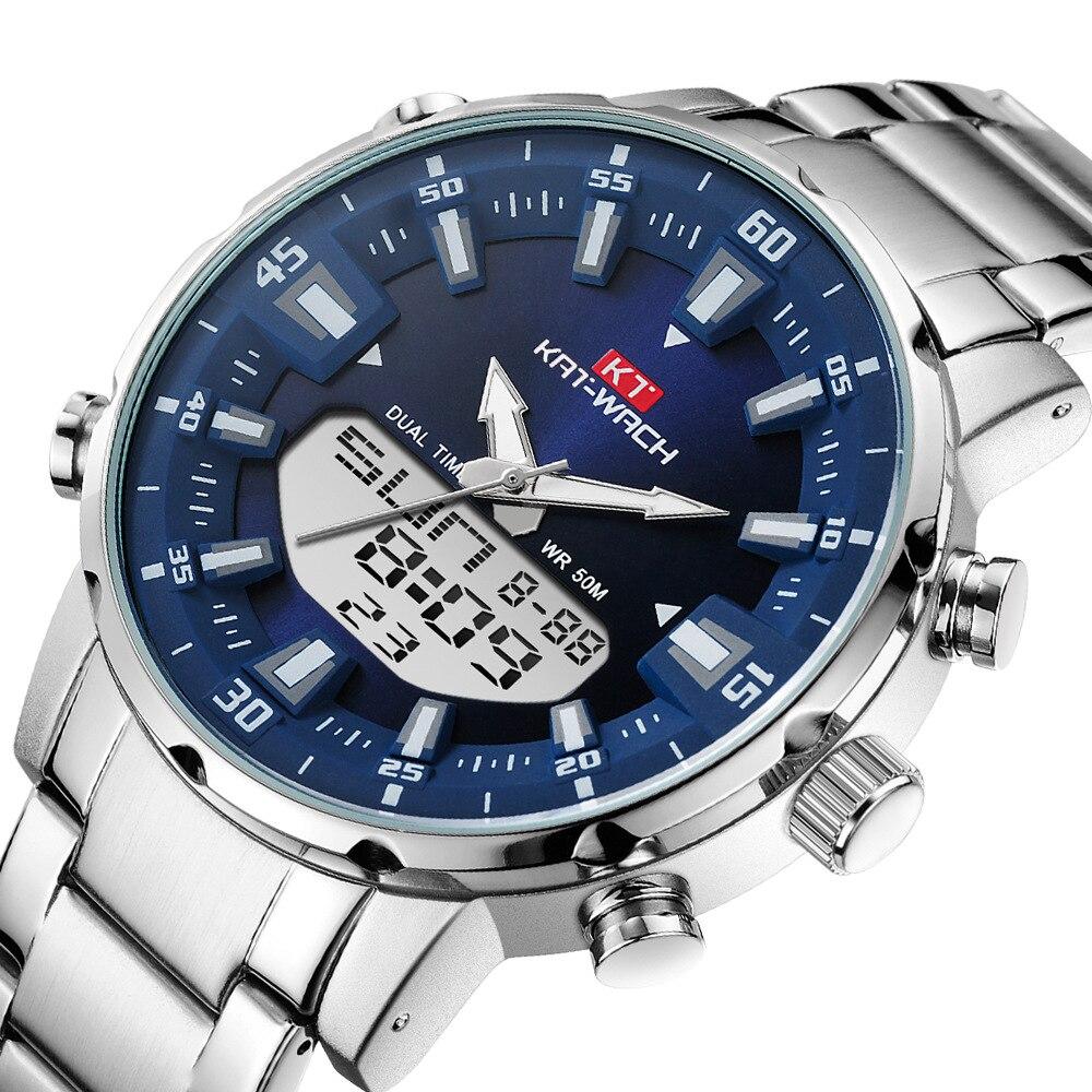2021 KAT-WACH Men Wrist Sports Watches For Men 50M Waterproof Steel Military Quartz Swim Watch Men Wristwatch Relogio Masculino
