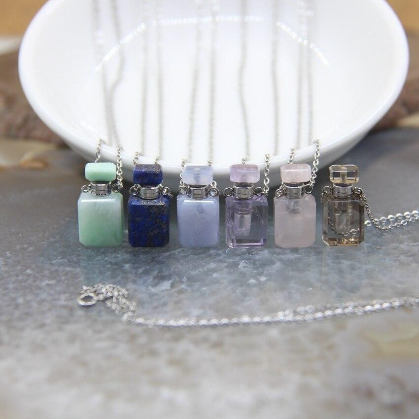 Pequeña botella de Perfume, gemas naturales, colgantes de piedra plateados, cadenas de plata, lapislázuli, difusor de aceite esencial de cuarzo, Vial colgante