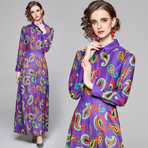 European and American Fashion Purple French Dress Designer Floral Print Tunic Party England Style Spring/Autumn Shirt Maxi Dress