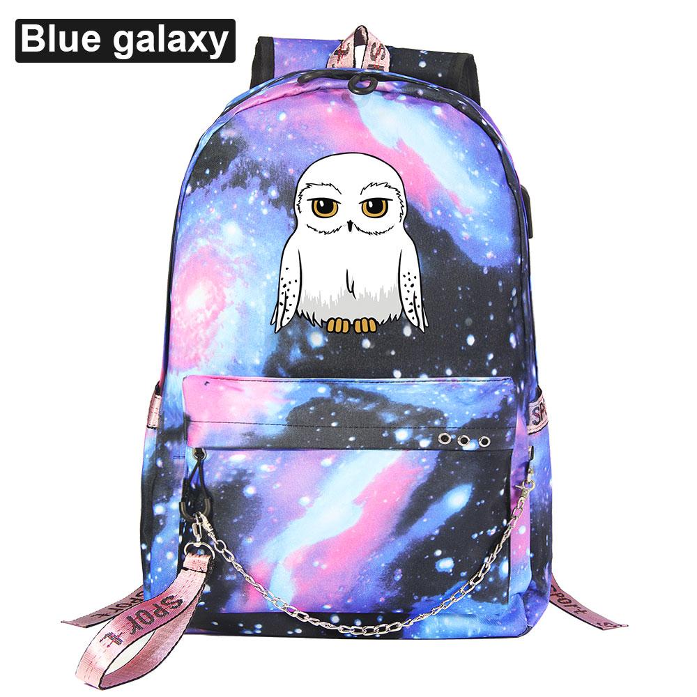 جديد Kawaii البومة يطبع بنين بنات أطفال حقيبة مدرسية المرأة USB سلسلة ظهره قماش الرجال على ظهره packbag Bookbag