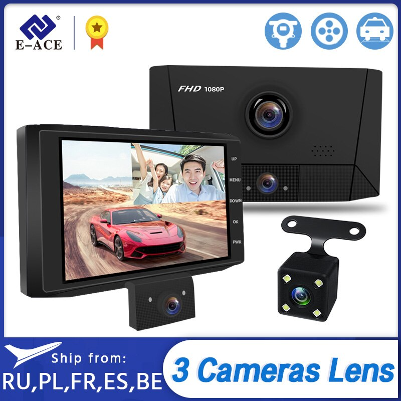E-ACE B13 Dvr para coche con 3 cámaras, lente para cámara de salpicadero, cámara de visión nocturna con registro de 4 pulgadas 1080P DVR, cámara de vídeo para automóvil
