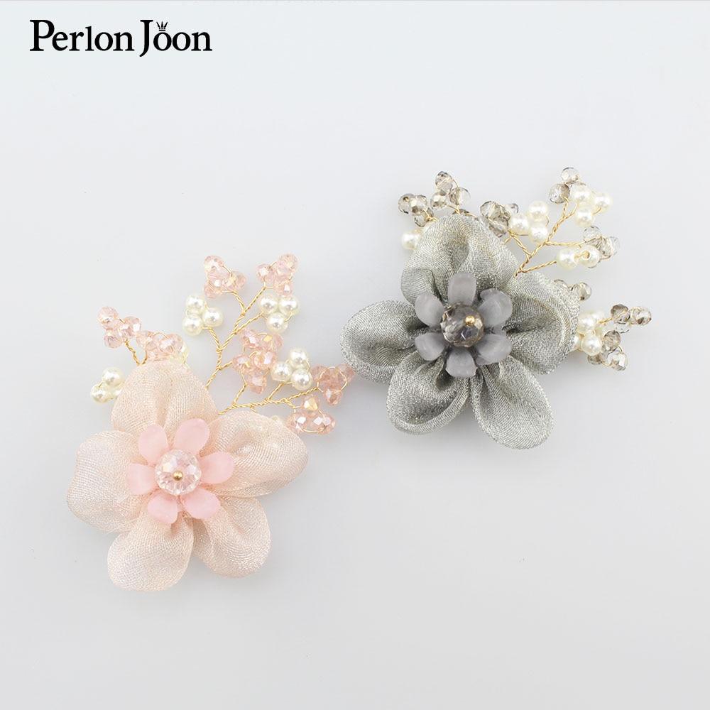 50 pçs feito à mão pano flor de cristal ouro linha surround diy acessórios para o cabelo nupcial broche roupas acessórios decoração sj008