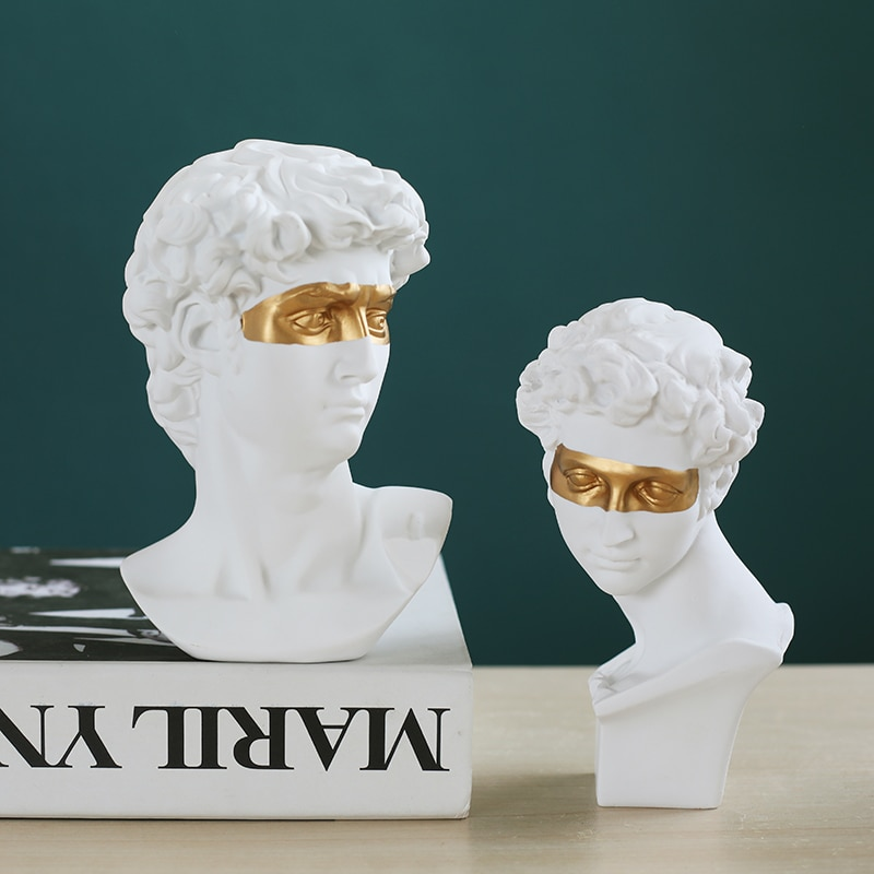 Retrato de cabeza David de resina blanca de 15cm, figurita decorativa de yeso, estatua de adorno, arte, boceto, escultura de práctica, decoración del hogar