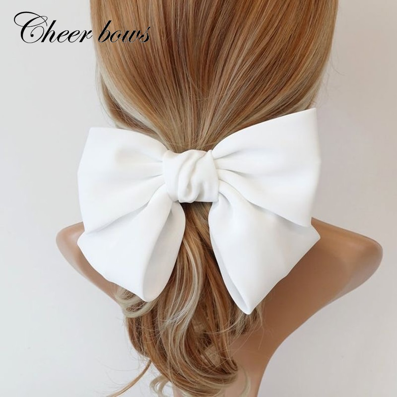bulk buys bi635 48 butterfly ruffle accent hair twister large Large Hair Clips Ties Hair Bows Satin Two Layer Butterfly Bow Hairpins Girls Hairpins For Women Bowknot Hair Accessories