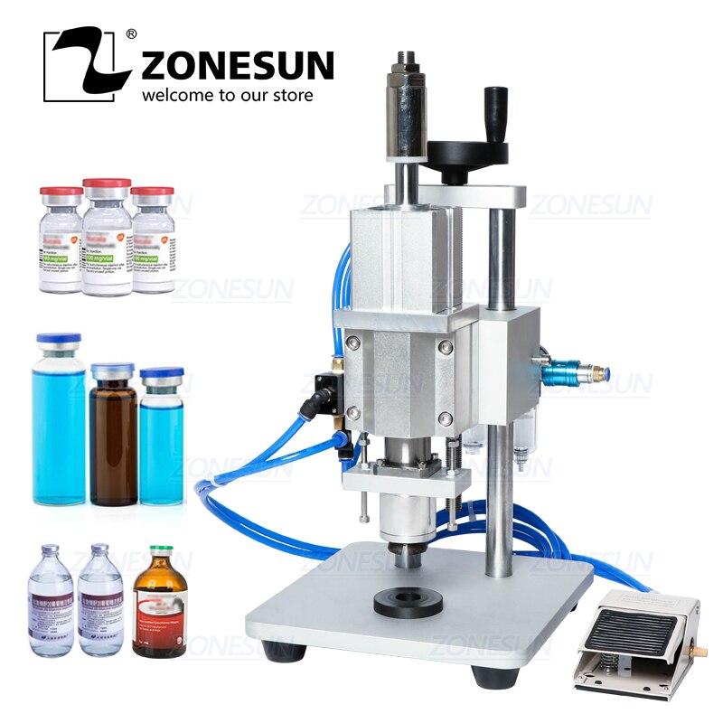 Máquina de tapado neumático ZONESUN, líquido Oral penicilina, botella inyectable antibiótica, taponadora de aluminio, plástico, crimpadora de viales