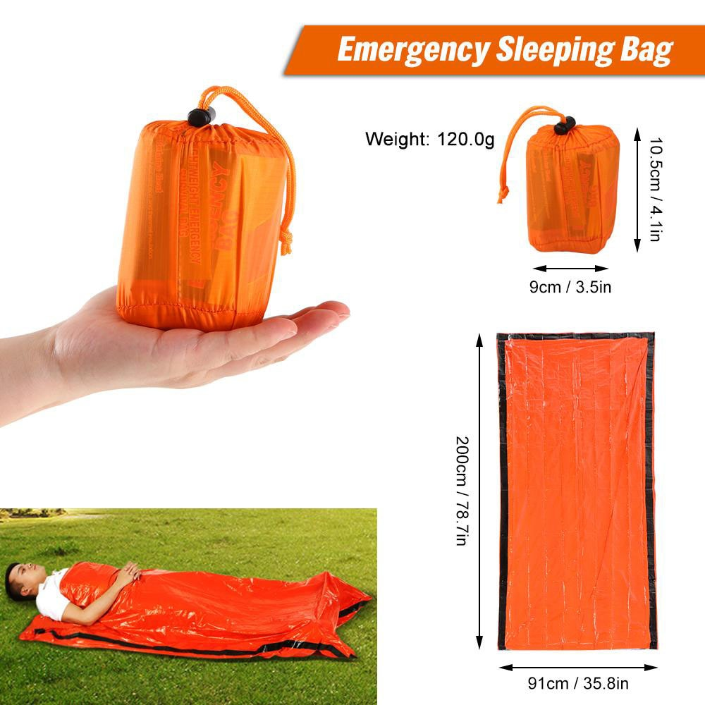 Emergency Sleeping Bag Survival Blanket Kit Body Thermal Portable Waterproof Camping Hiking Emergenc