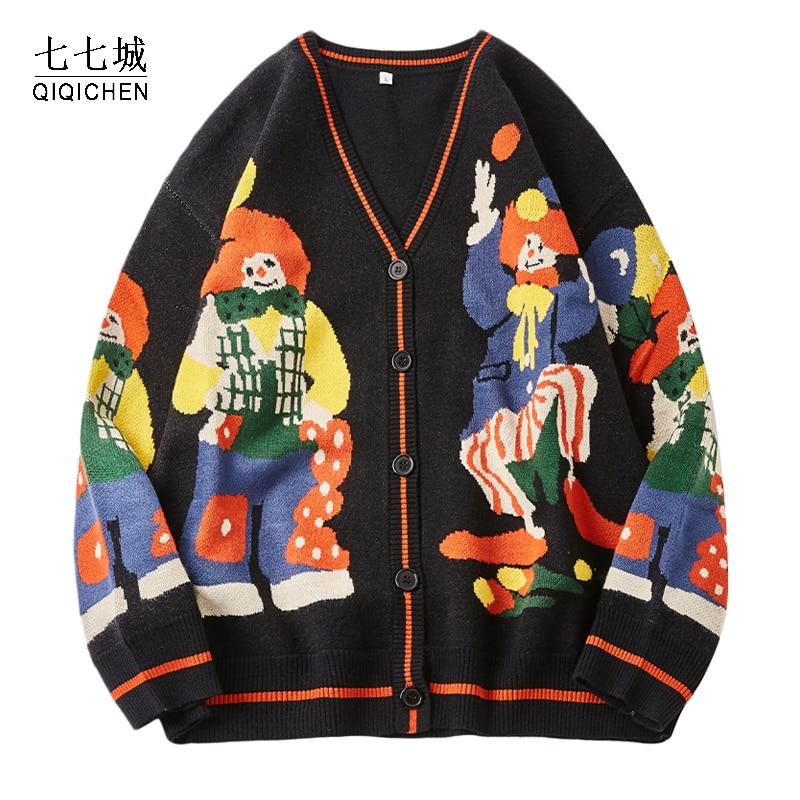 كارديجان نسائي محبوك ، ملابس شارع كبيرة الحجم ، سترة قطنية ، طباعة مهرج مضحك ، Harajuku ، معاطف محبوكة