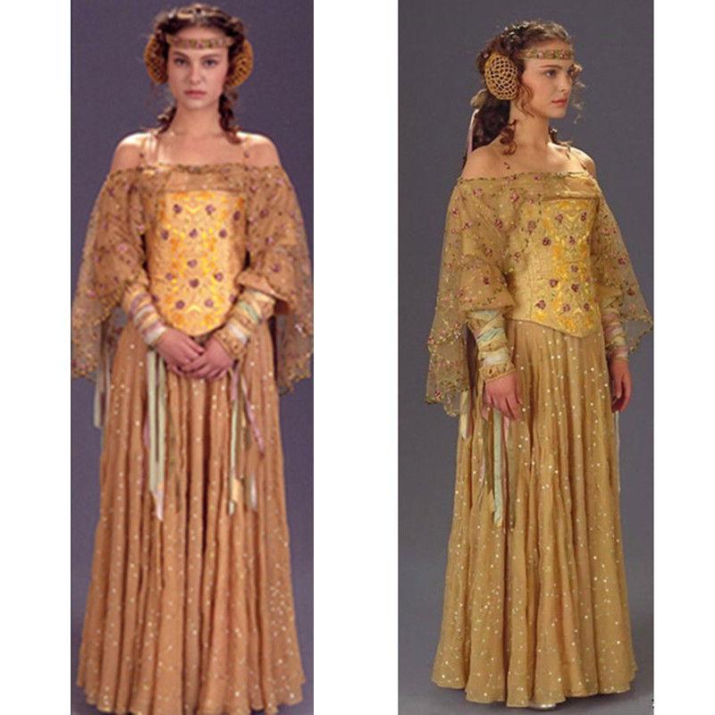New Star Wars III Queen Padme Naberrie Amidala Dress + Headwear Cosplay Costume