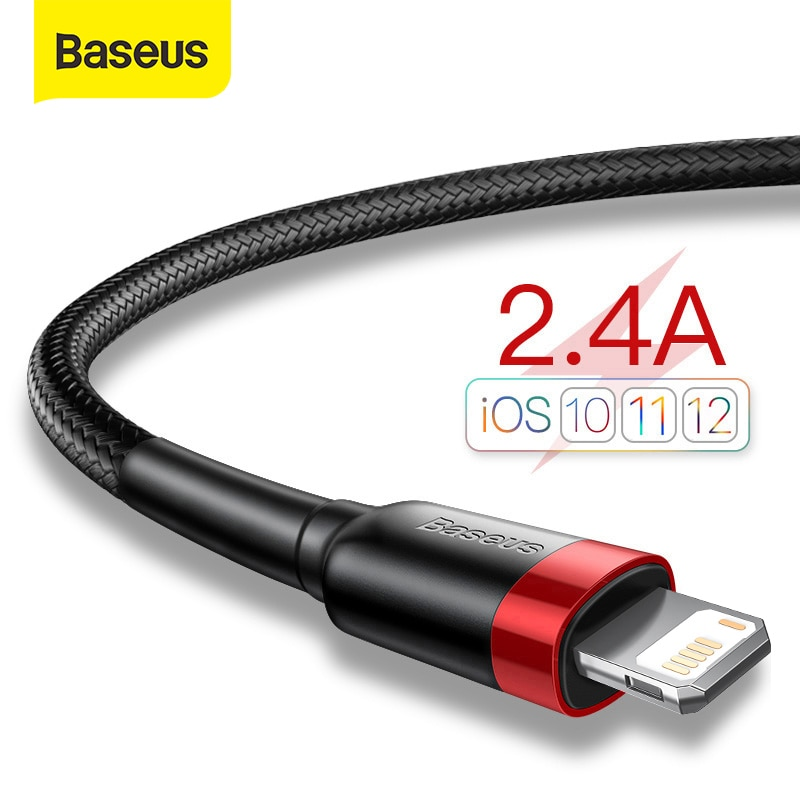 Baseus USB Cable for iPhone 12 11 Pro Max Xs X 8 Plus Cable 2.4A Fast Charging Cable for iPhone 7 SE