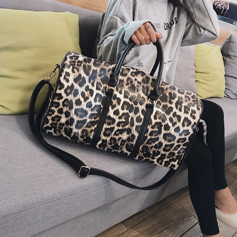 Fashion Travel Bag Women Duffle Carry on Luggage Bag Leopard Printing PU Leather Travel Totes Ladies