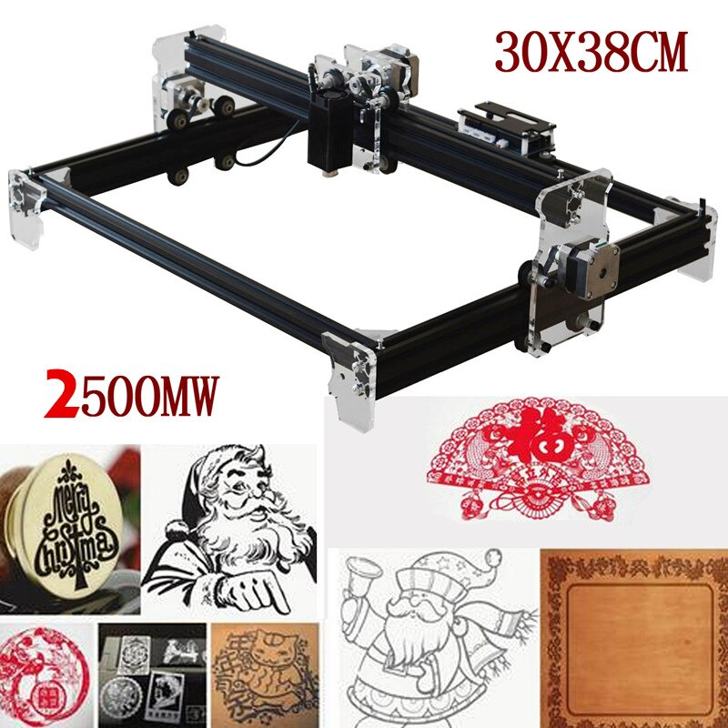2500MW A3 30X38CM DIY Mini grabador láser CNC DIY Logo impresora de logotipos cortador enrutador de madera grabado máquina