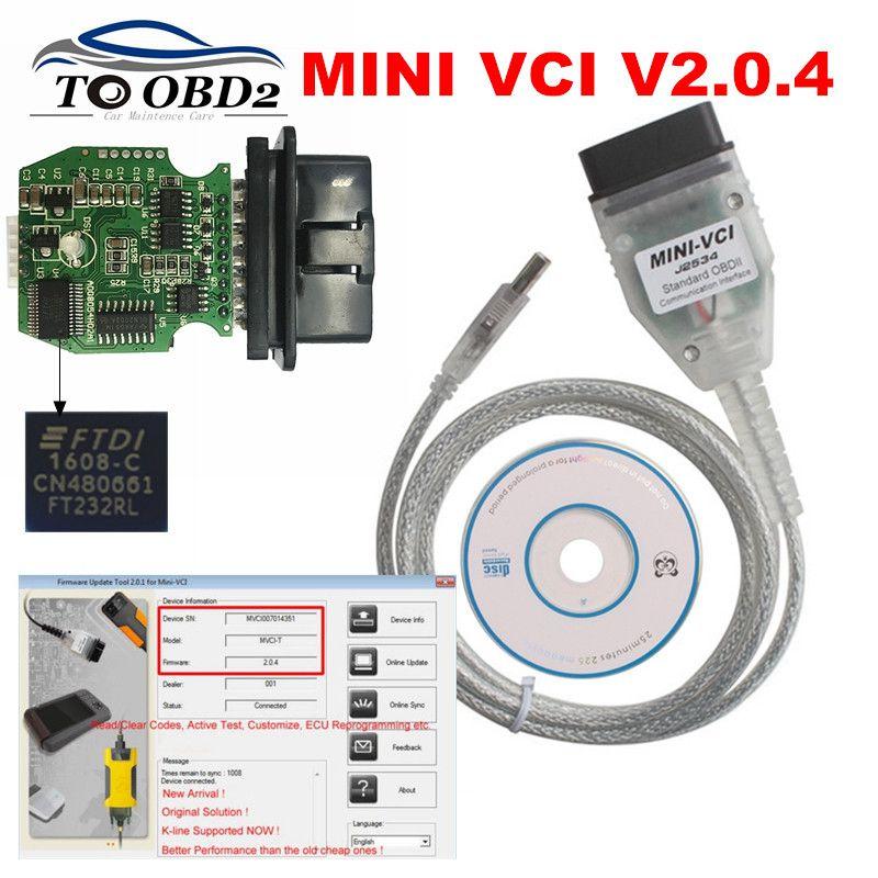 Mais novo v14.30.023 ft232rl real v2.0.4 firmware mini vci j2535 suporte vpw protocolo MINI-VCI v2.0.4 estável para toyota techstream